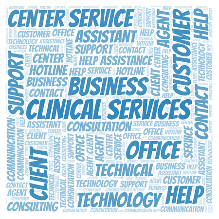 Clinical Services word cloud. Wordcloud made with text only. Stock Photo