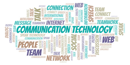 Communication Technology word cloud. Wordcloud made with text only. Stock Photo