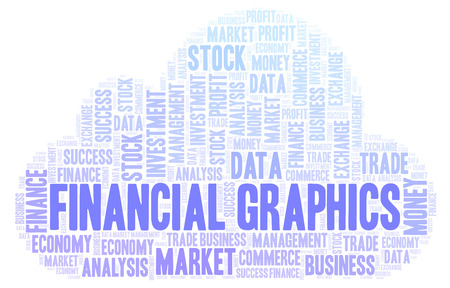 Financial Graphics word cloud, wordcloud made with text only. Stock Photo