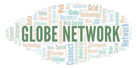 Globe Network word cloud. Word cloud made with text only. Stock Photo