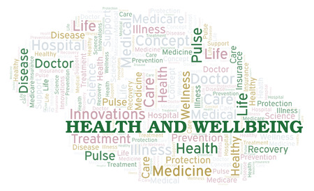 Health And Wellbeing word cloud. Wordcloud made with text only. Stock Photo