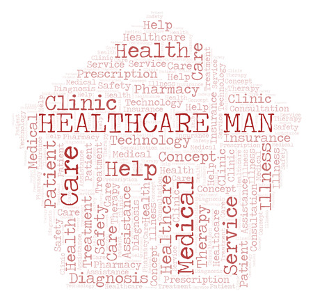 Healthcare Man word cloud. Wordcloud made with text only.