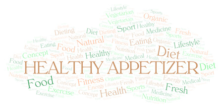 Healthy Appetizer word cloud. Wordcloud made with text only.