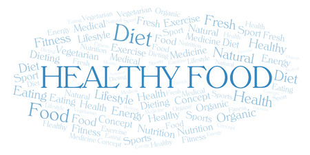 Healthy Food word cloud. Wordcloud made with text only. Stock Photo