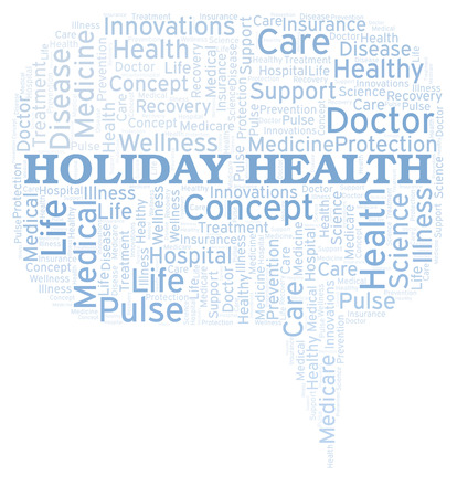 Holiday Health word cloud. Wordcloud made with text only.