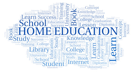 Home Education word cloud, wordcloud made with text only. Stock Photo