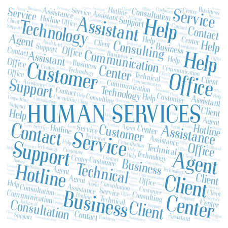 Human Services word cloud. Wordcloud made with text only.
