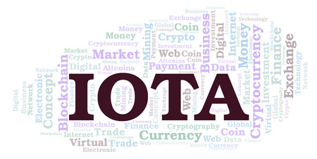 Iota cryptocurrency coin word cloud. Word cloud made with text only.