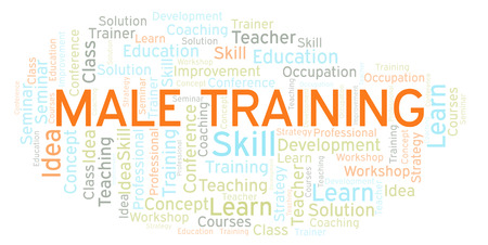 Male Training word cloud. Wordcloud made with text only. Stock Photo