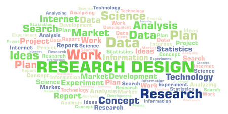 Research Design word cloud. Wordcloud made with text only. Stock Photo