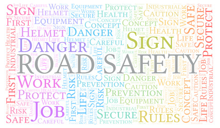 Road Safety word cloud. Word cloud made with text only.