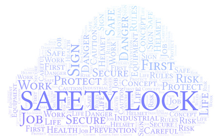 Safety Lock word cloud. Word cloud made with text only.
