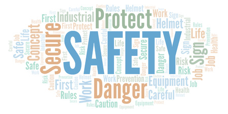 Safety word cloud. Word cloud made with text only.