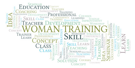 Woman Training word cloud. Wordcloud made with text only.