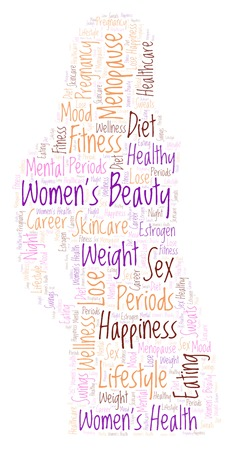 Womens beauty in girl shape word cloud - illustration made with text only.