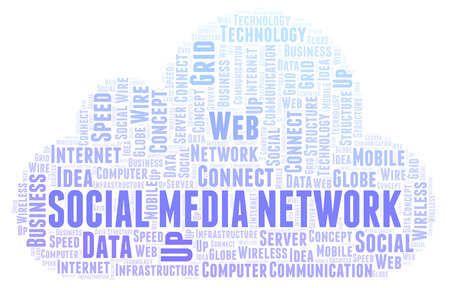 Social Media Network word cloud. Word cloud made with text only. Stock Photo