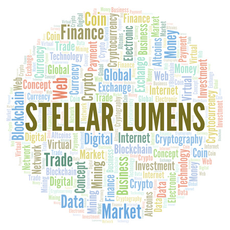 Stellar Lumens cryptocurrency coin word cloud. Word cloud made with text only.