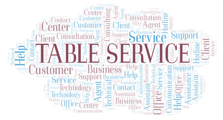 Table Service word cloud. Wordcloud made with text only.