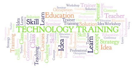 Technology Training word cloud. Wordcloud made with text only. Stock Photo