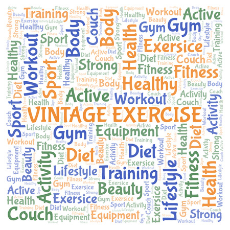 Vintage Exercise word cloud. Wordcloud made with text only.