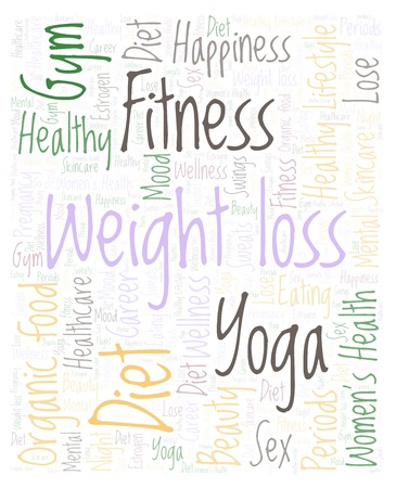 Weight loss vertical word cloud - illustration made with text only.