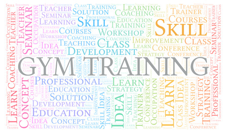 Gym Training word cloud. Wordcloud made with text only.