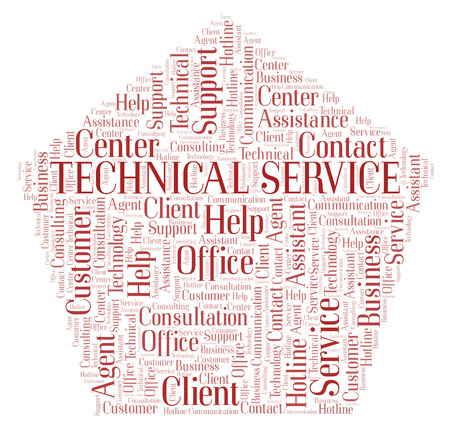 Technical Service word cloud. Wordcloud made with text only.
