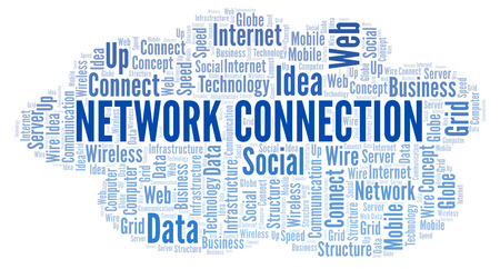 Network Connection word cloud. Word cloud made with text only.