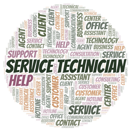 Service Technician word cloud. Wordcloud made with text only. Stock Photo