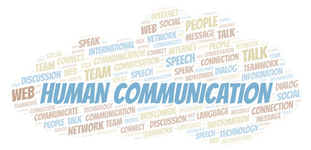 Human Communication word cloud. Wordcloud made with text only. Stock Photo