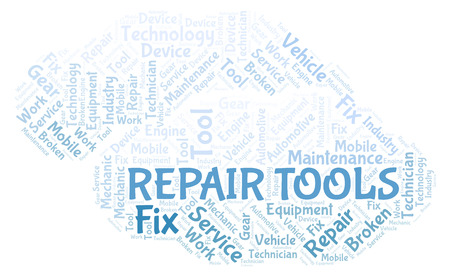 Repair Tools word cloud. Wordcloud made with text only.