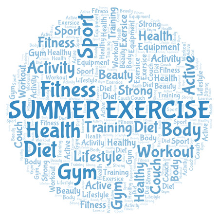 Summer Exercise word cloud. Wordcloud made with text only.