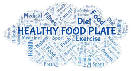 Healthy Food Plate word cloud. Wordcloud made with text only.