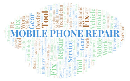 Mobile Phone Repair word cloud. Wordcloud made with text only. Stock Photo