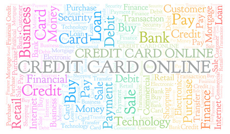 Credit Card Online word cloud. Wordcloud made with text only. Stock Photo