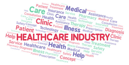 Healthcare Industry word cloud. Wordcloud made with text only. Stock Photo