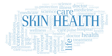 Skin Health word cloud. Wordcloud made with text only. Stock Photo