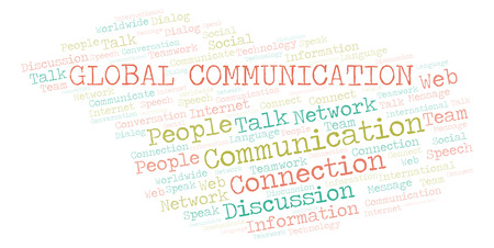 Global Communication word cloud. Wordcloud made with text only. Stock Photo
