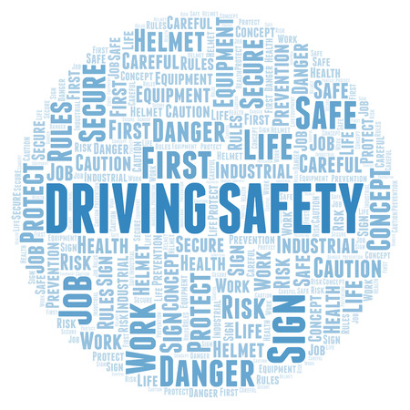 Driving Safety word cloud. Word cloud made with text only.