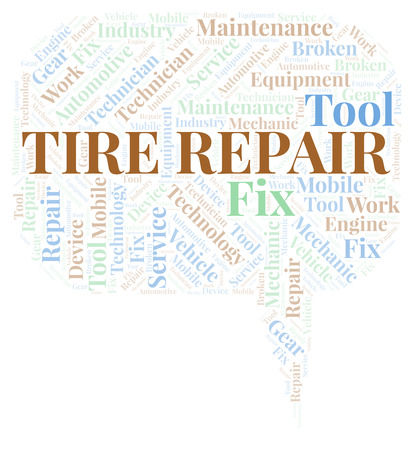 Tire Repair word cloud. Wordcloud made with text only.