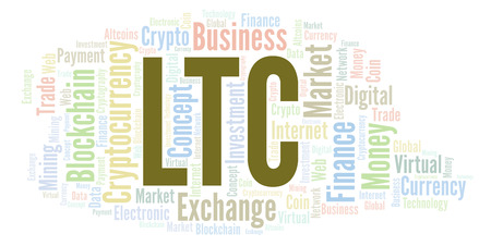 LTC or LiteCoin cryptocurrency coin word cloud. Word cloud made with text only. Stock Photo