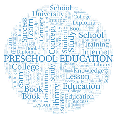Preschool Education word cloud, wordcloud made with text only.