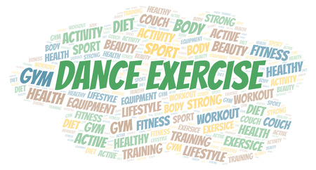 Dance Exercise word cloud. Wordcloud made with text only.