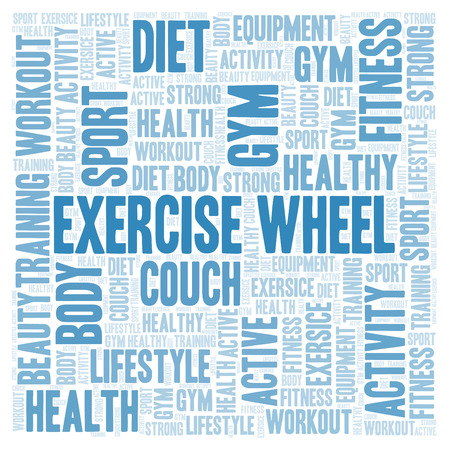 Exercise Wheel word cloud. Wordcloud made with text only. Stock Photo