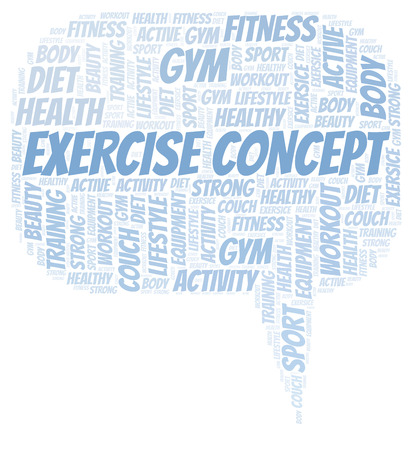 Exercise Concept word cloud. Wordcloud made with text only.