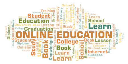 Online Education word cloud, wordcloud made with text only. Stock Photo