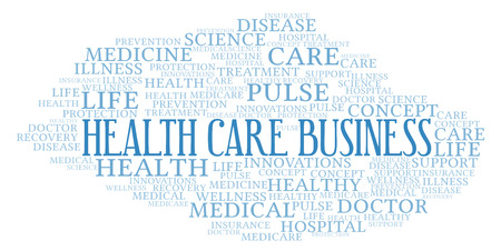 Health Care Business word cloud. Wordcloud made with text only.
