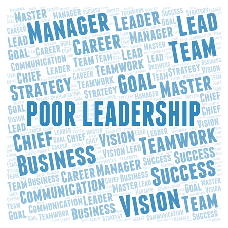 Poor Leadership word cloud. Wordcloud made with text only. Stock Photo