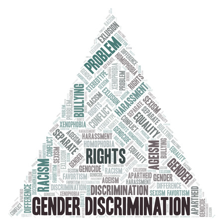 Gender Discrimination - type of discrimination - word cloud. Wordcloud made with text only.