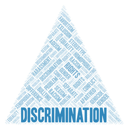 Discrimination - type of discrimination - word cloud. Wordcloud made with text only. Stock Photo
